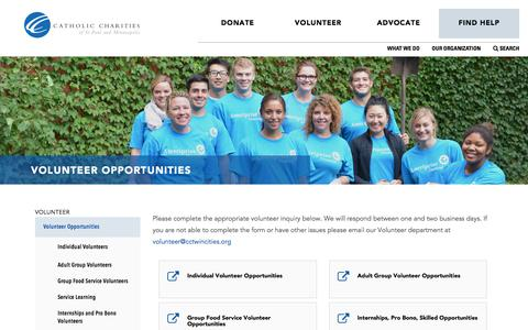Screenshot of Signup Page cctwincities.org - Volunteer Opportunities - Catholic Charities of St. Paul and Minneapolis - captured July 18, 2017