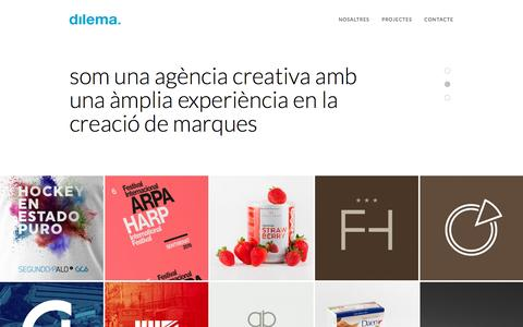 Screenshot of Home Page dilema.cat - dilema | disseny gràfic, web, identitat, editorial… - captured Feb. 9, 2016