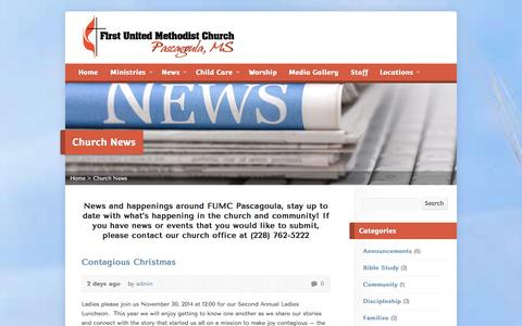Screenshot of Blog Press Page fumcpascagoula.org - Church News - First United Methodist Church Pascagoula, MS - captured Oct. 23, 2014