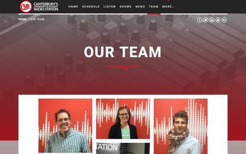 Screenshot of Team Page csrfm.com - Our Team - CSRfm - Canterbury's Community & Student Radio - captured Sept. 26, 2018