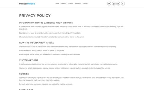 Privacy Policy - Mutual Mobile