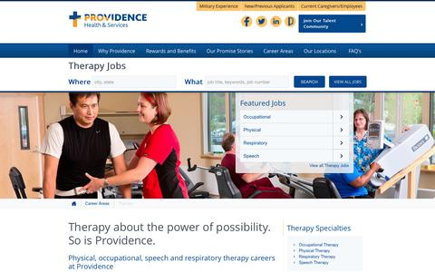 Screenshot of Home Page providence-therapy.jobs - Providence Therapy Jobs - captured June 22, 2015
