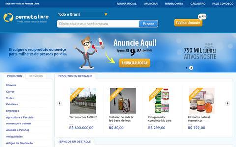 Screenshot of Home Page permutalivre.com.br - Permuta Livre - Site de Permutas, Compra e Venda - captured Oct. 6, 2018