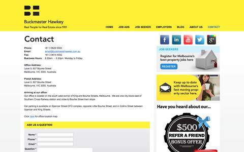 Screenshot of Contact Page buckmasterhawkey.com.au - Contact Buckmaster Hawkey, Melbournes Real Estate Recruiting Specialists - captured June 3, 2017