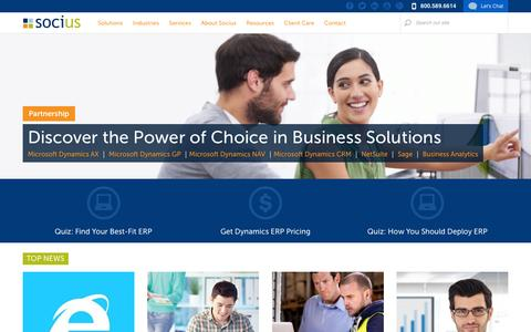 Screenshot of Home Page socius1.com - ERP, CRM, Business Intelligence, SharePoint Software Consulting|Socius - captured Jan. 16, 2016