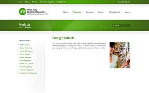 Screenshot of Products Page pcec.coop - Energy Products - Platte-Clay Electric Cooperative - captured Oct. 3, 2014