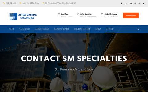 Screenshot of Contact Page smspecialties.com - Instant Quote Request - Screw Machine Specialties manufacturing service - captured Oct. 18, 2017