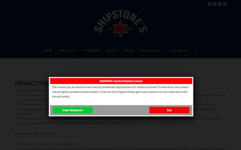 Screenshot of Privacy Page shipstones.com - Privacy Policy and Terms of Use   Shipstones Hand Crafted Beer - captured Sept. 24, 2015