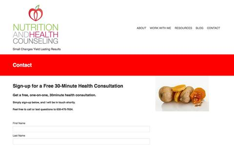 Screenshot of Contact Page nutritionandhealthcounseling.com - Contact - captured June 17, 2017