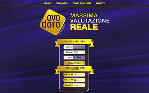 Screenshot of Home Page ovodoro.it - Valutazione on-line dell'oro usato | Ovodoro by De Stefano (Liguria) | - captured Jan. 27, 2015