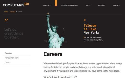 Screenshot of Jobs Page computaris.com - Career opportunities | Computaris - captured May 20, 2017