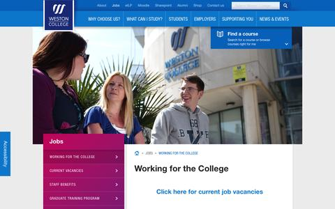 Screenshot of Jobs Page weston.ac.uk - Working for the College | Weston College - captured Feb. 8, 2016