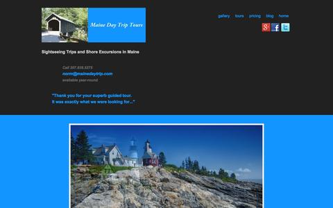 Screenshot of Home Page mainedaytrip.com - Portland Maine Personal Tours & Luxury Day Trips in Maine - captured Oct. 3, 2014