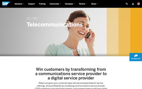 Screenshot of sap.com - Telecommunications | Industry Software | SAP - captured May 11, 2017