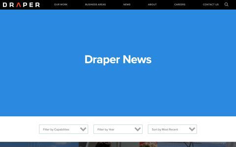 Screenshot of Press Page draper.com - News Releases   Draper - captured Oct. 9, 2018