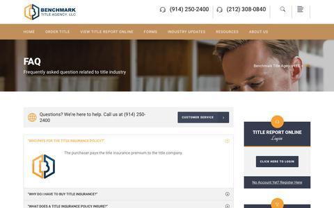 Screenshot of FAQ Page benchmarkta.com - FAQ - Benchmark Title Agency LLC - captured Oct. 10, 2017