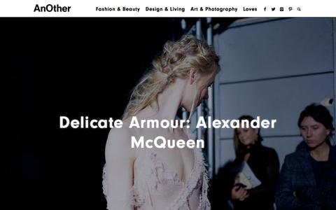 Screenshot of Home Page anothermag.com - Delicate Armour: Alexander McQueen | AnOther - captured Oct. 7, 2015