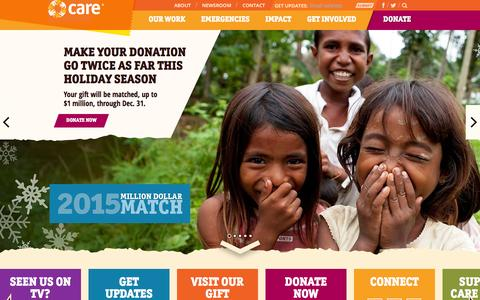 Screenshot of Home Page care.org - CARE | A Leading Humanitarian Organization Fighting Global Poverty - captured Dec. 4, 2015
