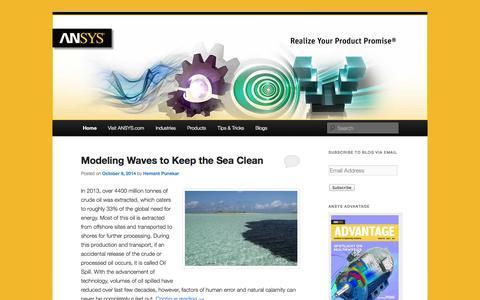 Screenshot of Blog ansys-blog.com - ANSYS Blog - Realize Your Product Promise®ANSYS Blog | Realize Your Product Promise® - captured Oct. 9, 2014