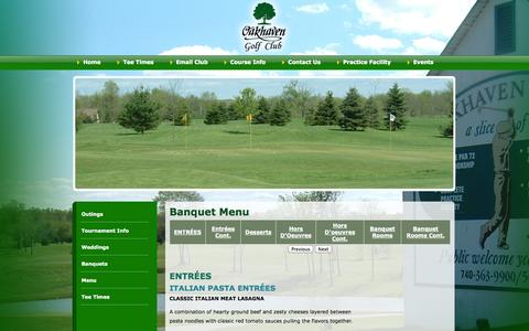 Screenshot of Menu Page oakhaven.com - Oakhaven Golf Club - captured Oct. 7, 2014