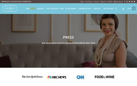 Screenshot of Press Page mariebelle.com - Press - MarieBelle® New York Chocolates - captured Oct. 5, 2017