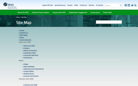 Screenshot of Site Map Page ieso.ca - Site Map - Independent Electricity System Operator - captured Nov. 26, 2016