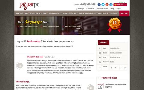 Screenshot of Testimonials Page jaguarpc.com - Web Hosting Customer Testimonials | JaguarPC - captured Sept. 18, 2014