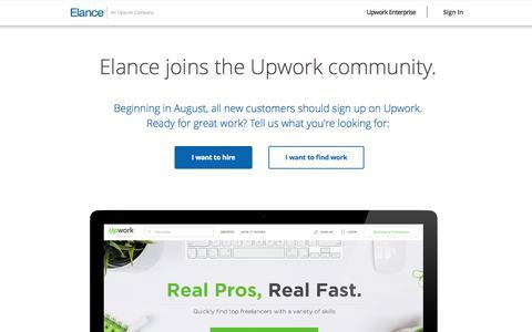 Screenshot of Home Page elance.com - Hire freelancers and find freelance jobs instantly | Elance - captured Sept. 13, 2015