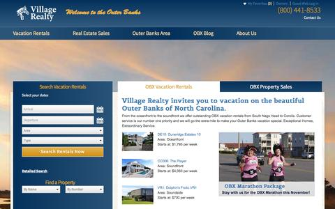 Screenshot of Home Page Menu Page villagerealtyobx.com - Outer Banks Vacation Rentals | Outer Banks Real Estate Sales | Village Realty - captured Sept. 19, 2014