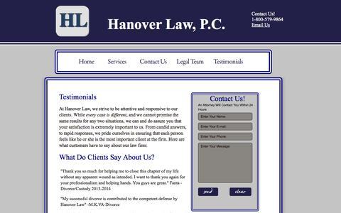 Screenshot of Testimonials Page hanoverlawpc.com - Hanover Law,PC-VA/MD/DC Immigration Trial (Master Calendar and Individual Calendar Hearings) - captured Oct. 27, 2014
