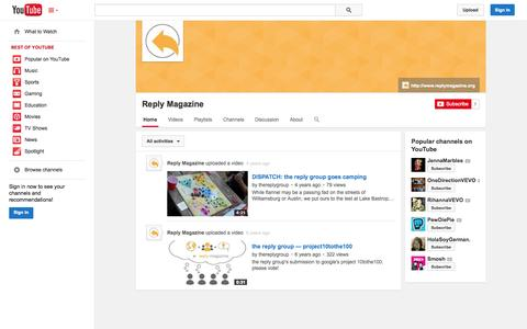 Screenshot of YouTube Page youtube.com - Reply Magazine  - YouTube - captured Oct. 26, 2014