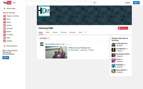 Screenshot of YouTube Page youtube.com - hdmcorp1996  - YouTube - captured Oct. 22, 2014
