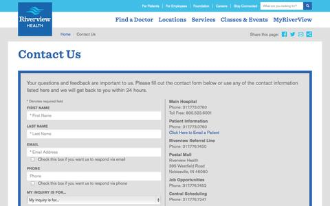Screenshot of Contact Page riverview.org - Riverview Health | Contact Us - captured Oct. 6, 2014