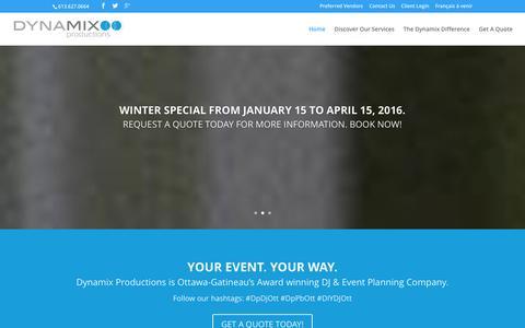 Screenshot of Home Page dynamixpro.ca - Dynamix Productions - DJ, Entertainment, Event Planning, Decor Up-Lightning, AV, DIY DJ, Photo Booth Services - captured Jan. 22, 2016