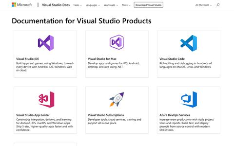 Screenshot of Products Page microsoft.com - Visual Studio Products - Visual Studio | Microsoft Docs - captured Aug. 12, 2019