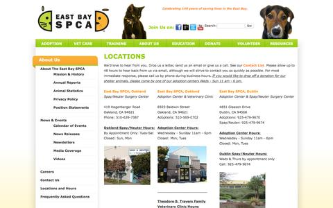 Screenshot of Locations Page eastbayspca.org - East Bay SPCA - captured Dec. 6, 2015