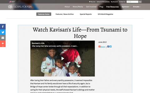 Screenshot of Press Page gfa.org - Watch Kavisan's Life—From Tsunami to Hope - Gospel for Asia - captured April 13, 2018