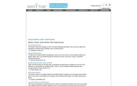 Screenshot of Testimonials Page americanstandard-us.com - Testimonials  |  Safety Tubs - captured Oct. 1, 2018