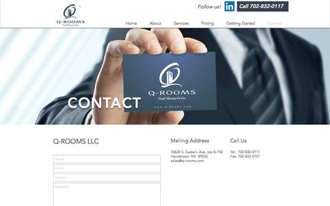 Screenshot of Contact Page q-rooms.com - Q-rooms: Event housing on cue! | Contact Us - captured Oct. 3, 2016