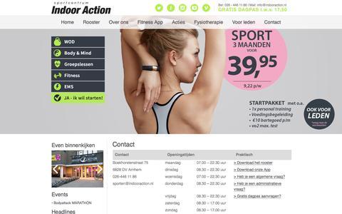 Screenshot of Contact Page indooraction.nl - Contact | Sportcentrum Indoor Action ArnhemIndoor Action - captured Jan. 8, 2016