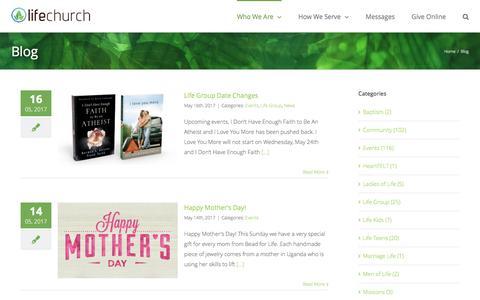 Screenshot of Blog lifechurchcalvert.com - Blog - Life Church Calvert - captured May 19, 2017