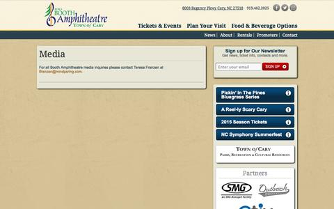 Screenshot of Press Page boothamphitheatre.com - Media   Koka Booth Amphitheatre - captured Sept. 19, 2014