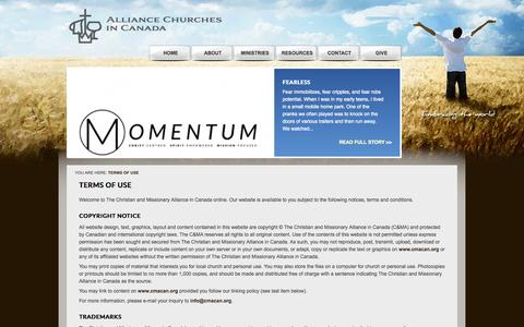 Screenshot of Terms Page cmacan.org - The Christian and Missionary Alliance in Canada - Terms of Use - captured Oct. 1, 2014