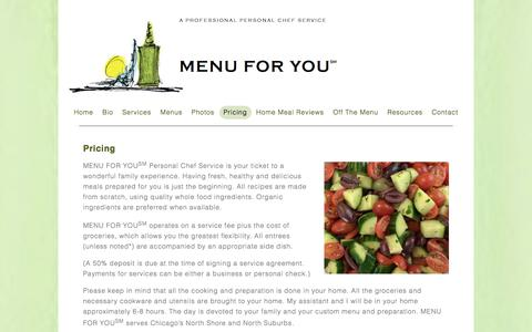 Screenshot of Pricing Page menuforyouinc.com - Pricing – Menu For You inc - captured Sept. 20, 2018