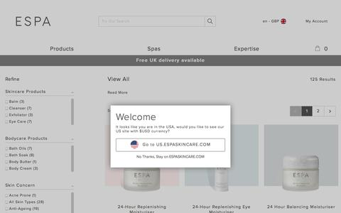 Screenshot of Products Page espaskincare.com - View All ESPA Products | ESPA - captured Sept. 22, 2017