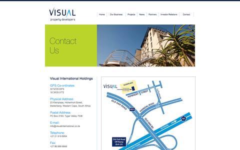 Screenshot of Contact Page visualinternational.co.za - Visual Property Developers. Contact Us - captured Oct. 7, 2014