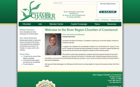 Screenshot of About Page riverregionchamber.org - About Us - River Region Chamber of Commerce, LA - captured Feb. 15, 2016