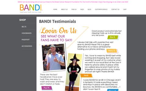 Screenshot of Testimonials Page bandiwear.com - BANDI Pocketed Accessories, Stash your stuff, not your style - captured Oct. 3, 2014
