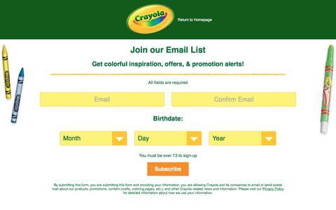 Screenshot of Signup Page crayola.com - Crayola Sign Up - captured Nov. 3, 2017
