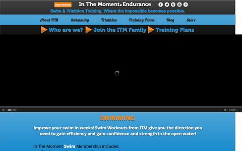 Screenshot of Home Page areyouinthemoment.com - In The Moment Swim & Tri   Swim, Triathlon and Training   Woodbury, MN - captured Oct. 6, 2014